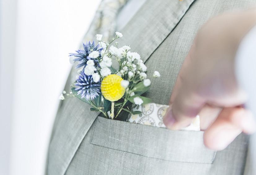 pochette ou boutonnière fleurs